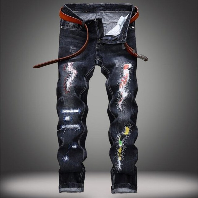 be933dc8d89 Hot Sell European Street Style Men Jeans Ripped Hole Patch Straight Denim  Pants Beggar Fashion Long Jeans Trousers