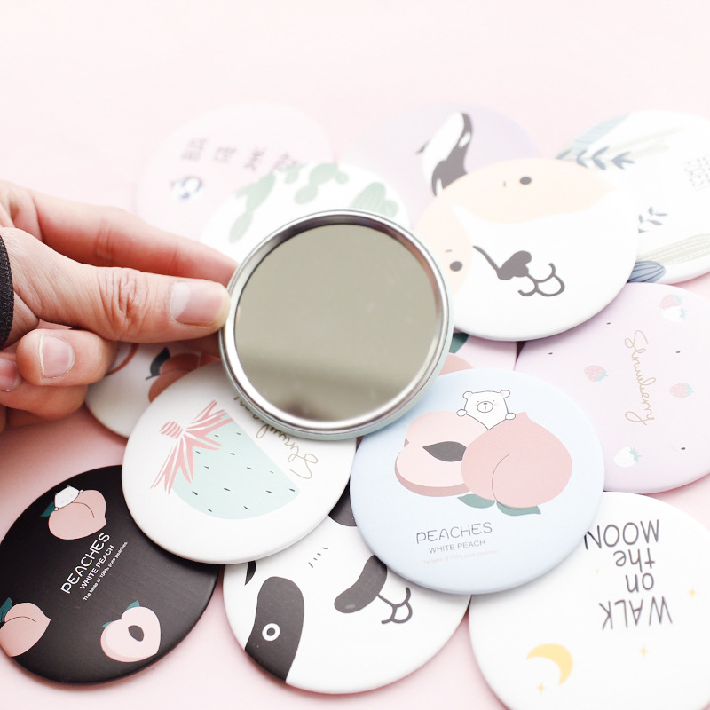 1pc Fashion cute mini cartoon small round mirror portable makeup glass mirror creative round portable princess makeup mirror