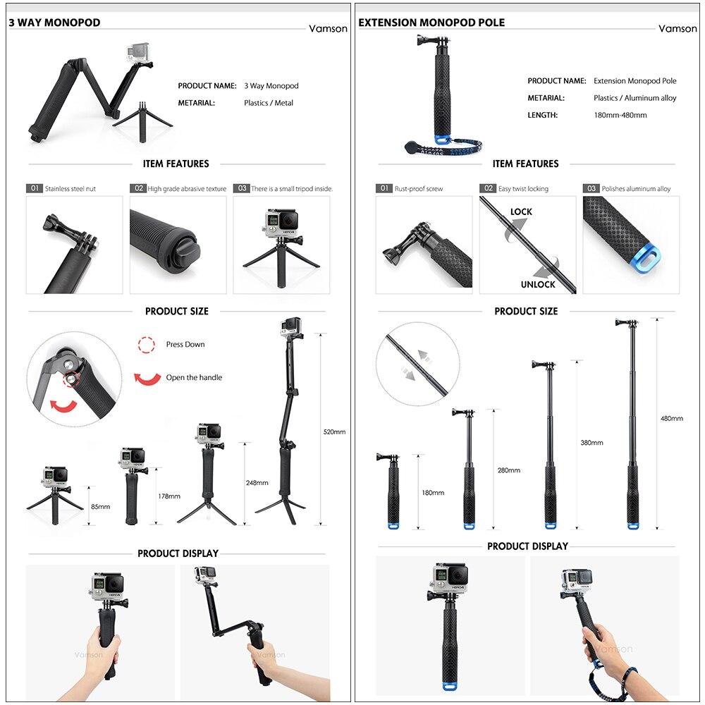 Image 3 - Vamson for Gopro 7 Accessories kit for xiaom yi 4k for gopro hero 7 6 5 4 3 kit mount for SJCAM SJ4000 / eken h9 tripod VS56-in Sports Camcorder Cases from Consumer Electronics