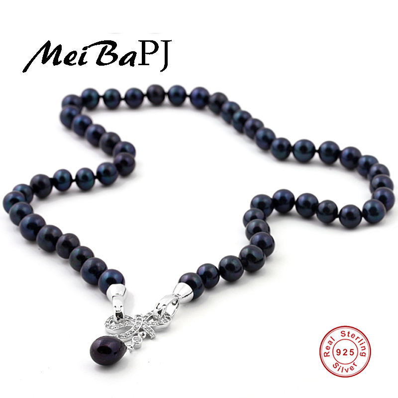 MeiBaPJ 43cm Black real natural pearl beads necklace with 925 sterling silver bow pendant Party