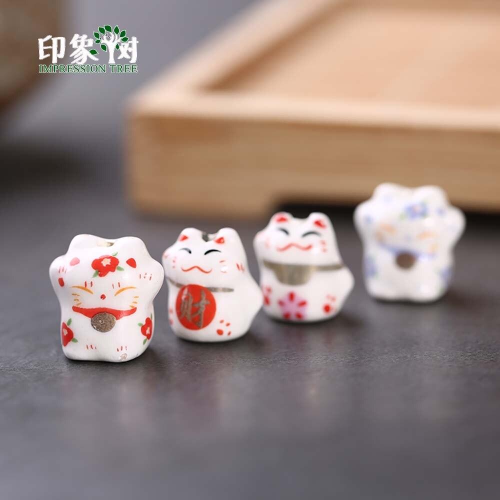 10pcs 12-14mm Lucky Cat Ceramic Beads Maneki Neko Spacer Cute Kawaii Loose DIY Jewelry Makings 1