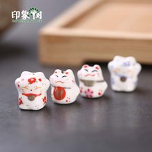 10pcs 12-14 millimetri di Lucky Cat Perline di Ceramica Maneki Neko Cat Spacer Perline di Ceramica Cute Kawaii Branelli Allentati gioielli FAI DA TE Stoffa 1(China)