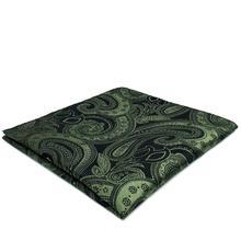YH30 Deep green Paisley Mens Pocket Square Silk Jacquard Woven Classic Fashion Hanky