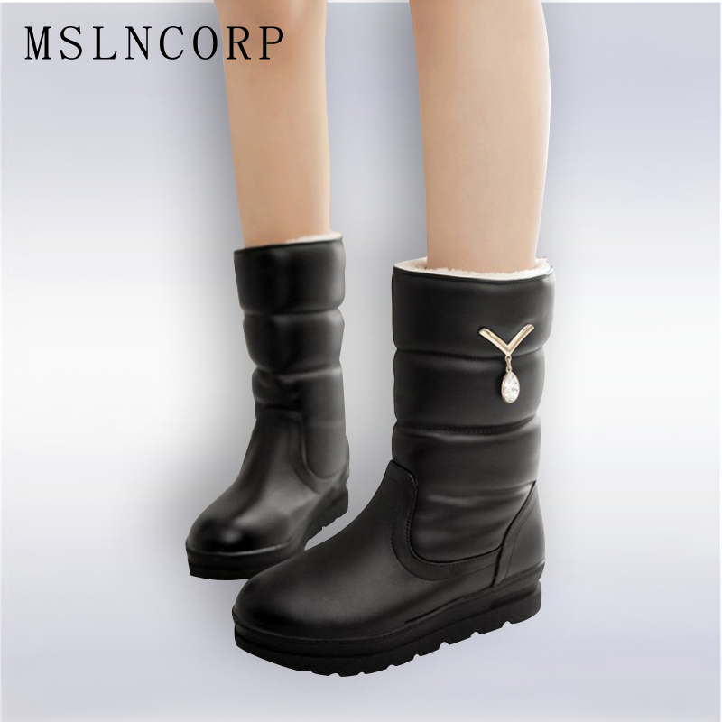 New Autumn Winter Women Boots Warm Leather Snow Boots Female Round Toe Mid-Calf Fashion Flats Height Increasing Shoes Size 34-42 ekoak new 2017 winter boots fashion women boots warm plush mid calf boots ladies platform shoes woman rubber leather snow boots