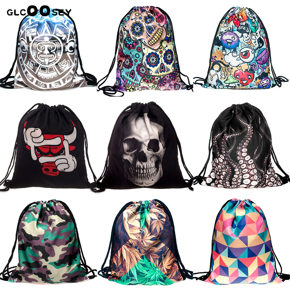 3D Printing Travel Canvas Drawstring Bag Skull Octopus Dog Cat Lips Pattern Harajuku Gothic Backpack Schoolbag Draw String Bag