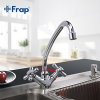1 Set Modern Style Deck Mounted Brass Solid Kitchen Faucet Chrome Finish Cold And Hot Water