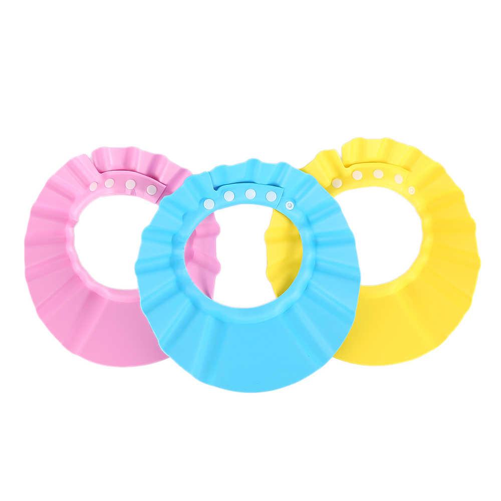 Nowy do kąpieli dla dzieci kapelusz regulowany elastyczne dla dzieci czepek do mycia włosów chroni miękkie czapki dla niemowląt wodoodporne tarcza dla dzieci stylizacji narzędzie