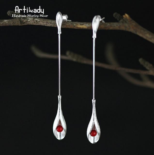 Artilady handmade 925 sterling silver stud earrings elegant women long tassels earrings women jewelry occasion gift for party