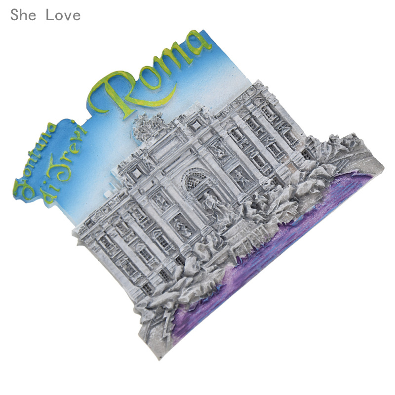 She Love Italy Roma Trevi Fountain 3D Fridge Magnet Decor Refrigerator Sticker Travel Gift