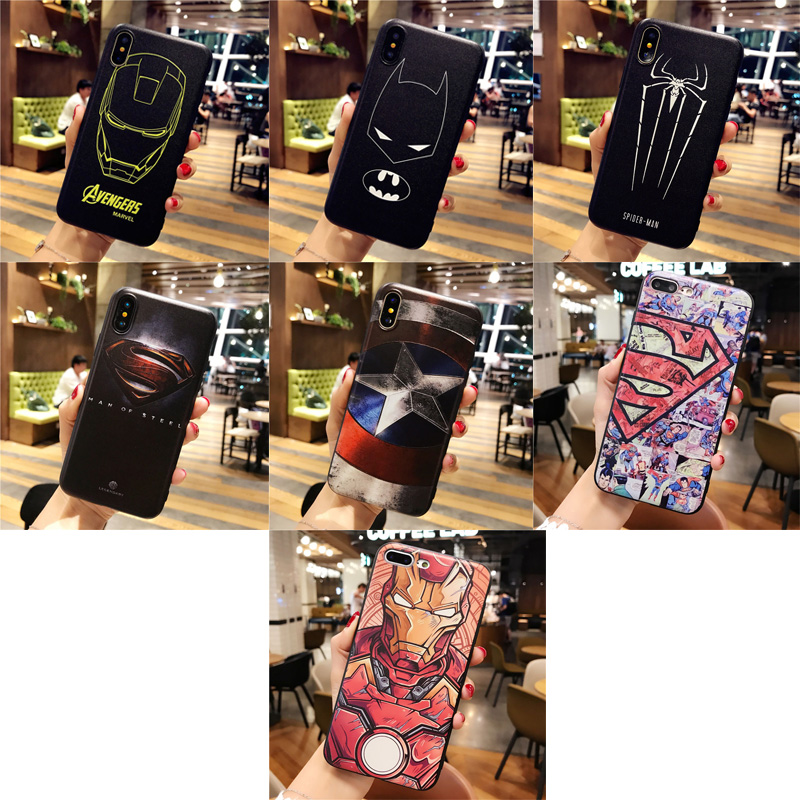Marvel 3D superhero The Avengers Batman Iron Man for Coque iPhone 6 6s 7 8 X Plus phone soft Cover for iPhone 5 5s SE case