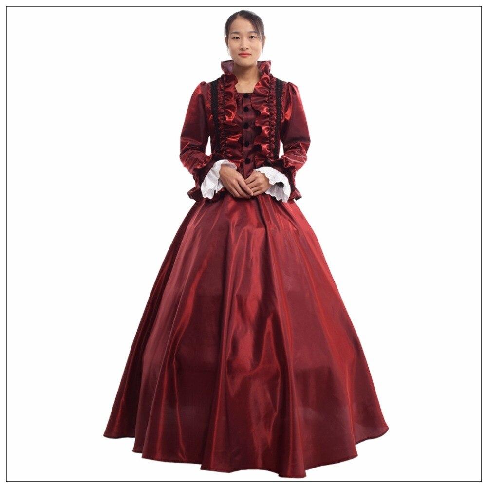 Femmes robe de bal historique victorien à manches longues soirée Costume Cosplay Vintage médiéval gothique Lolita robe