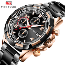 MINI FOCUS Luxury Quartz Watches Stainless Steel Chronograph Luminous Waterproof Business Wristwatch Man Relogios Clock 0198G.02
