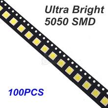 100pcs led smd 5050 White Smd Smt 3-chips Led Super Bright Lamp Light-emitting Diodes SMT Bead 16-18lm white Red Green Blue