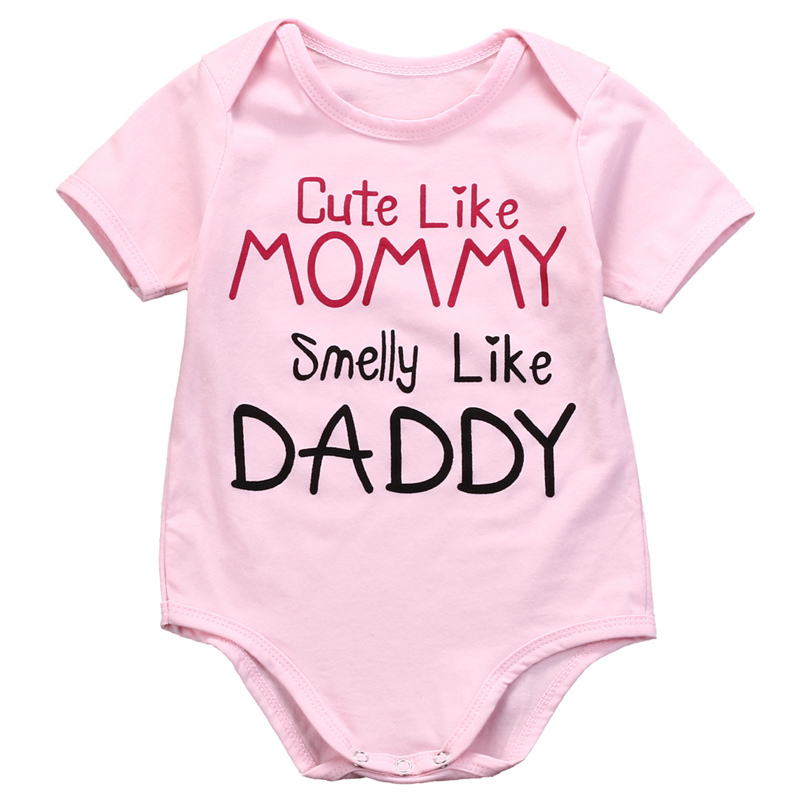 Pink Newborn Baby girls letter Mommy Daddy Bodysuits Infant Babies Boy Girl Cute Bodysuit one-pieces Outfits Kids Clothing girl