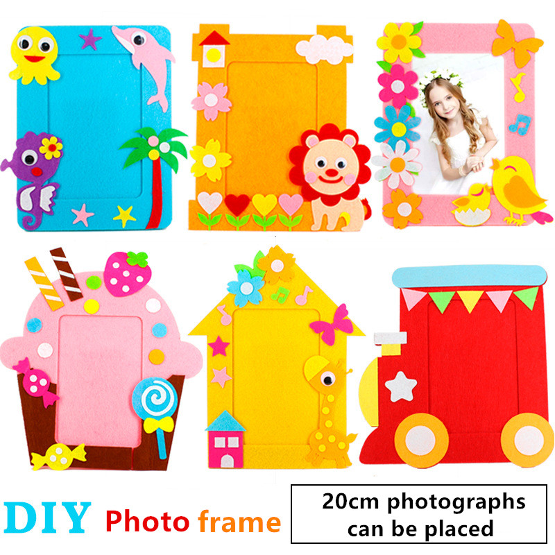 6PCS Nonwovens Photo frames Toys Children's Developmental toy Hand-made DIY Material package Kid gift Creative Parent-Child Game