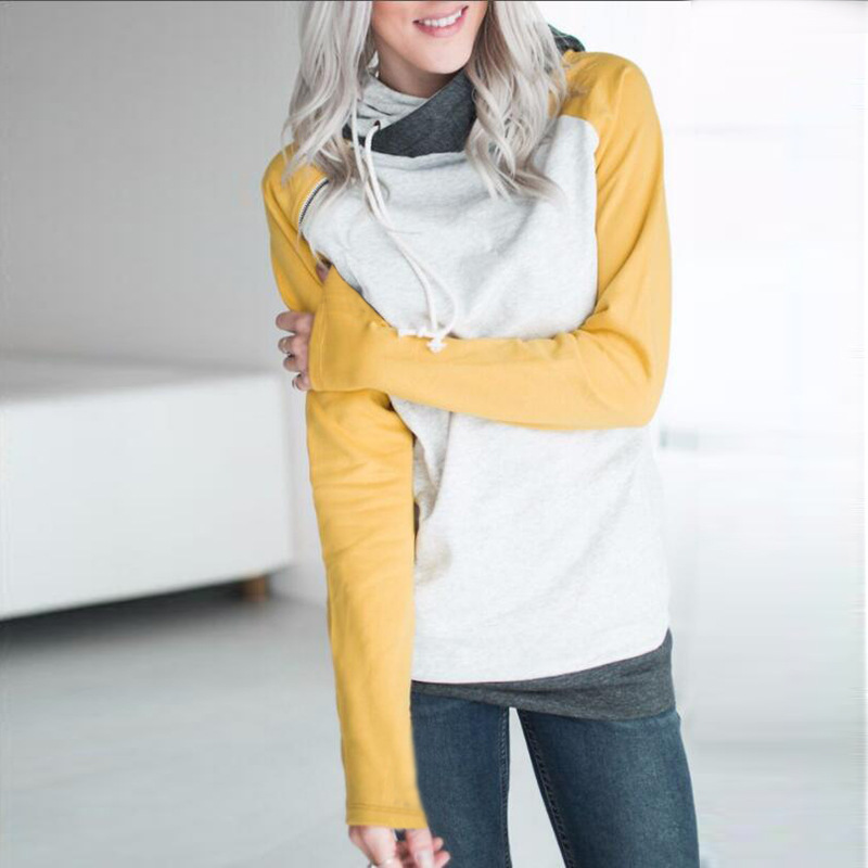 2018 Double hood hoodies sweatshirt Women Autumn Long Sleeve side zipper Hooded Casual Patchwork Hoodies Pullover femme Oversize
