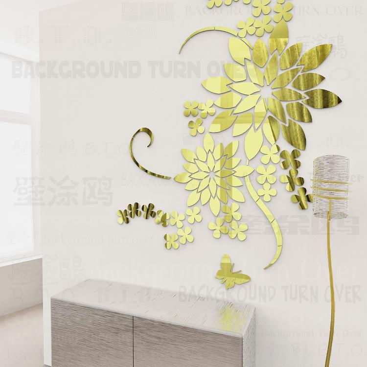pensamiento creativo diy d gran flor tatuajes de pared de acrlico decorativo espejo engomada de sala