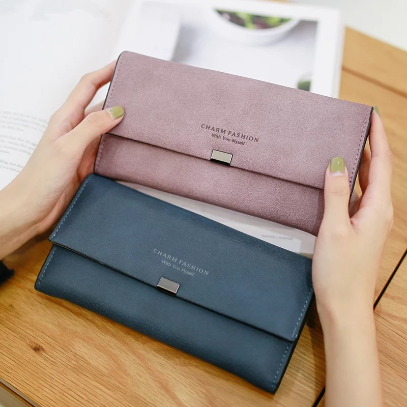2019 Ladies Scrub Matte Leather Long Wallet Women Brand Vintage Card Holder Coin Purse Women Zipper Hasp Purse Clutch Money