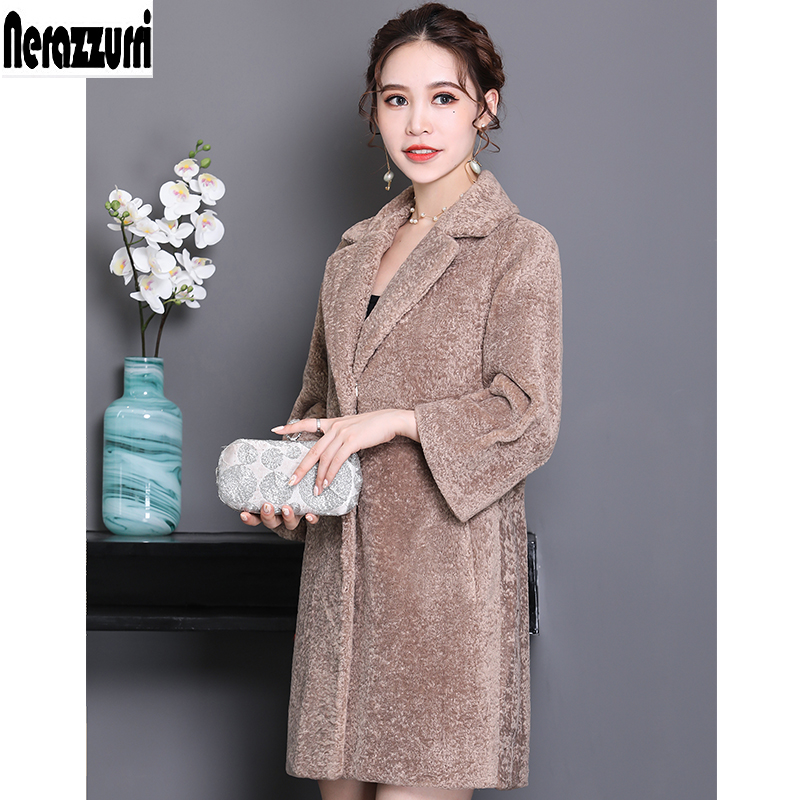Nerazzurri Faux fur coat famale winter jacket women 2019 orange pink plus size fake lamb fur