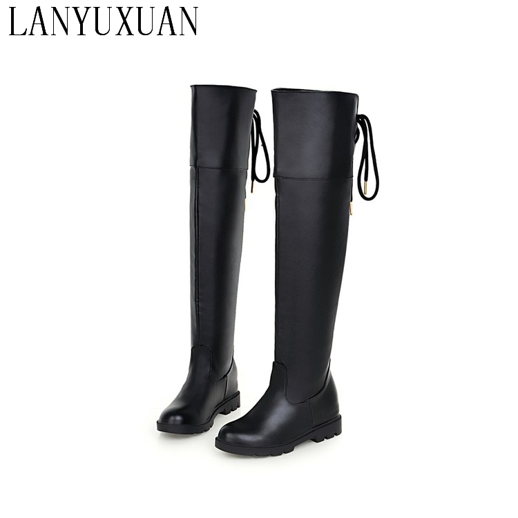 LANYUXUIA Winter Boots Big Size 34-43 Brand Design Patch Color Over The Knee Boots Thick Sole Platform Slim Long Autumn 809