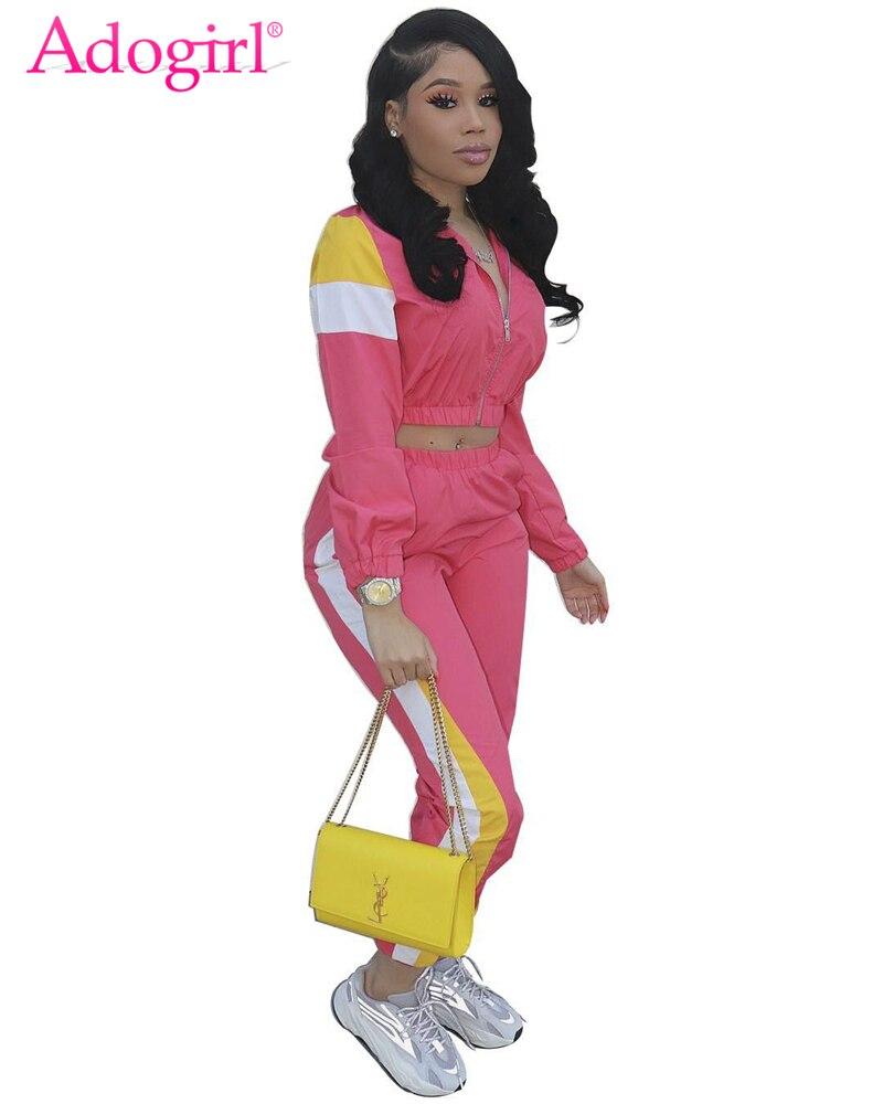 Adogirl Color Patchwork Women Casual Two Piece Set Tracksuit Zipper Crop Jacket Top + Sweat Pants Female Streetwear Sportswear