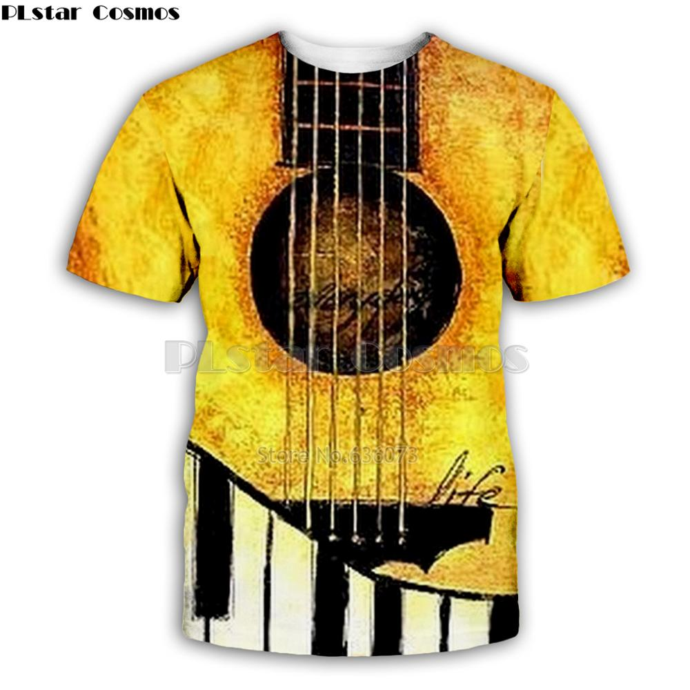 Ice And  Fire Guitar Art Musical Instrument T Shirt Man 3D Print Fashion  Hip Hop Tee Style Tops Casual Tops Summer Style-3