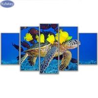 Sea Turtle, fisch, 5D Diy Diamant malerei kreuzstich Quadratmeter diamant-stickerei muster Strass malerei home decor 5 stücke