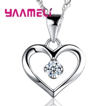 YAAMELI Trendy Women Heart Crystal 925 Sterling Silver Necklaces Jewelry CZ Zircon Pendant Necklace For Engagement Bijoux Gift(China)