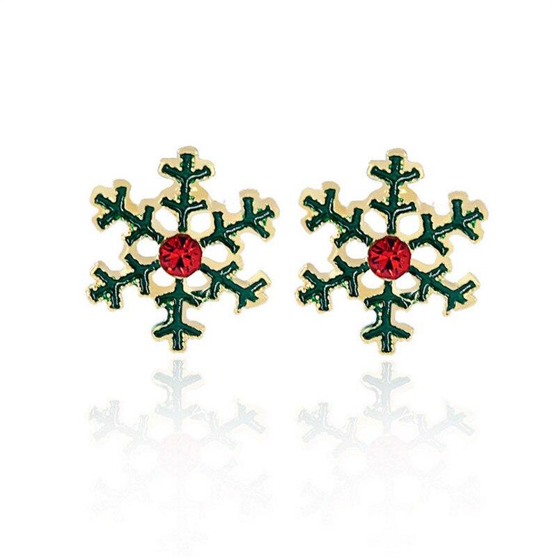 ✅Nueva moda oro color verde cristal rojo copo de nieve pendientes ...