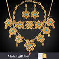 Flower Turkish Jewelry Maxi Necklace Bracelet And Earrings Set Gold Plated Bohemian Turquoise Jewelry Set For Women NEH471