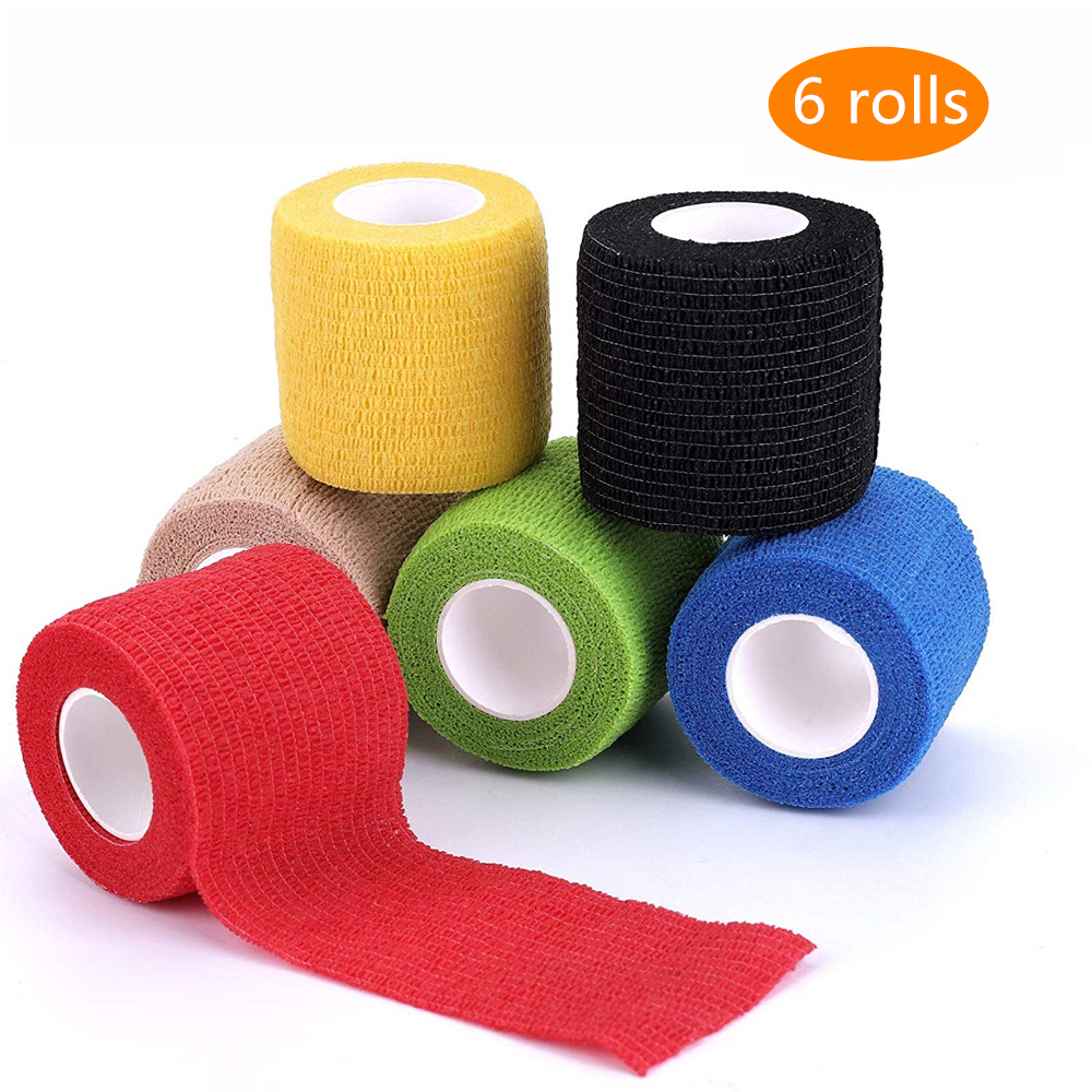 6 Rolls 4.5m Sports Elastoplast Self-Adhesive Cohesive Wrap Bandage Flexible Stretch Tape Athletic Strong Elastic First Aid Tape