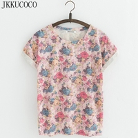 JKKUCOCO All Rose Flowers Print 8 Style Women T Shirt Short Sleeve O Neck Summer Tees