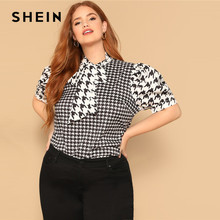 c65ecfd708fa SHEIN Black and White Tie Neck Puff Sleeve Houndstooth Plus Size Elegant  Blouses 2019 Women Stand Collar Spring Top Blouse