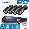 Sannce 4CH 1920*1080P CCTV System AHD 2400tvl DVR 4pcs 2.0 Megapxiels 1080p Security camera 4 channels Surveillance kit 1TB HDD
