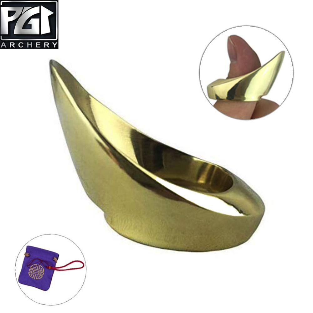 PG1ARCHERY Golden Color Archery Thumb Ring Handmade Archer's Painless Finger Protector For Bow Archery Finger