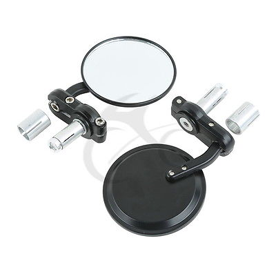 "Black Motorcycle 3"" Round 7/8"" Handle Bar End Mirrors For Cafe Racer Bobber Bike"