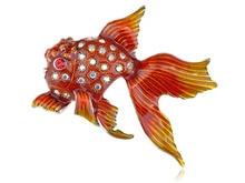 Fire Red Orange Gloss Paint Clear Crystal Rhinestone Pretty Goldfish Pin Brooch (Mix Item)