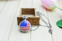 10pcs/lot Wholesale New enamel American flag Pocket Watch Necklace vintage jewelry wholesale Korean Sweater chain