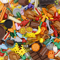 Строительные блоки  городская еда  аксессуары  рыба  фрукты  курица  хот-дог  игрушки «ананас»  фигурки  детали MOC  совместимые с друзьями  кир...