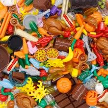 Bausteine Stadt Food Zubehör Fisch Pizze Obst Huhn Heißer Hund ananas Spielzeug Figur MOC Teile kompatibel Freunde Ziegel