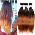 Extensões de cabelo Ombre brasileiro 7A brasileiro virgem cabelo liso 1B / 30 Ombre cabelo humano Weave Bundles Rosa produtos de cabelo rainha