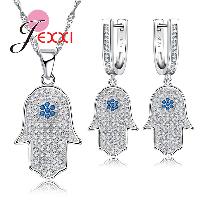 925 Sterling Silver Crystal Luck Hamsa Hand Pendant Necklace with Drop Earrings Luck Fatima Hand Palm Necklace Jewelry artificial crystal water drop pendant necklace with earrings