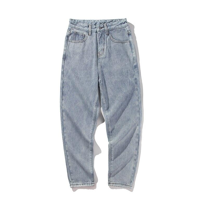2018 New Fashion Four Seasons Loose Men Jeans Washed Cotton Casual Light Blue Cowboy Pants Zipper Jeans M-2XL Free Shipping 1