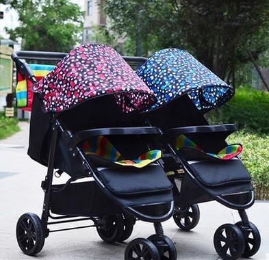 Gemelas cochecitos de bebé desmontable doble varios niños pueden sentarse carritos plegables