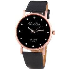 Hot 2017 Superior Relogio feminino Clock Fashion Style Women's Diamond Case Leatheroid Band Round Dial Quartz Wrist Watch Gift