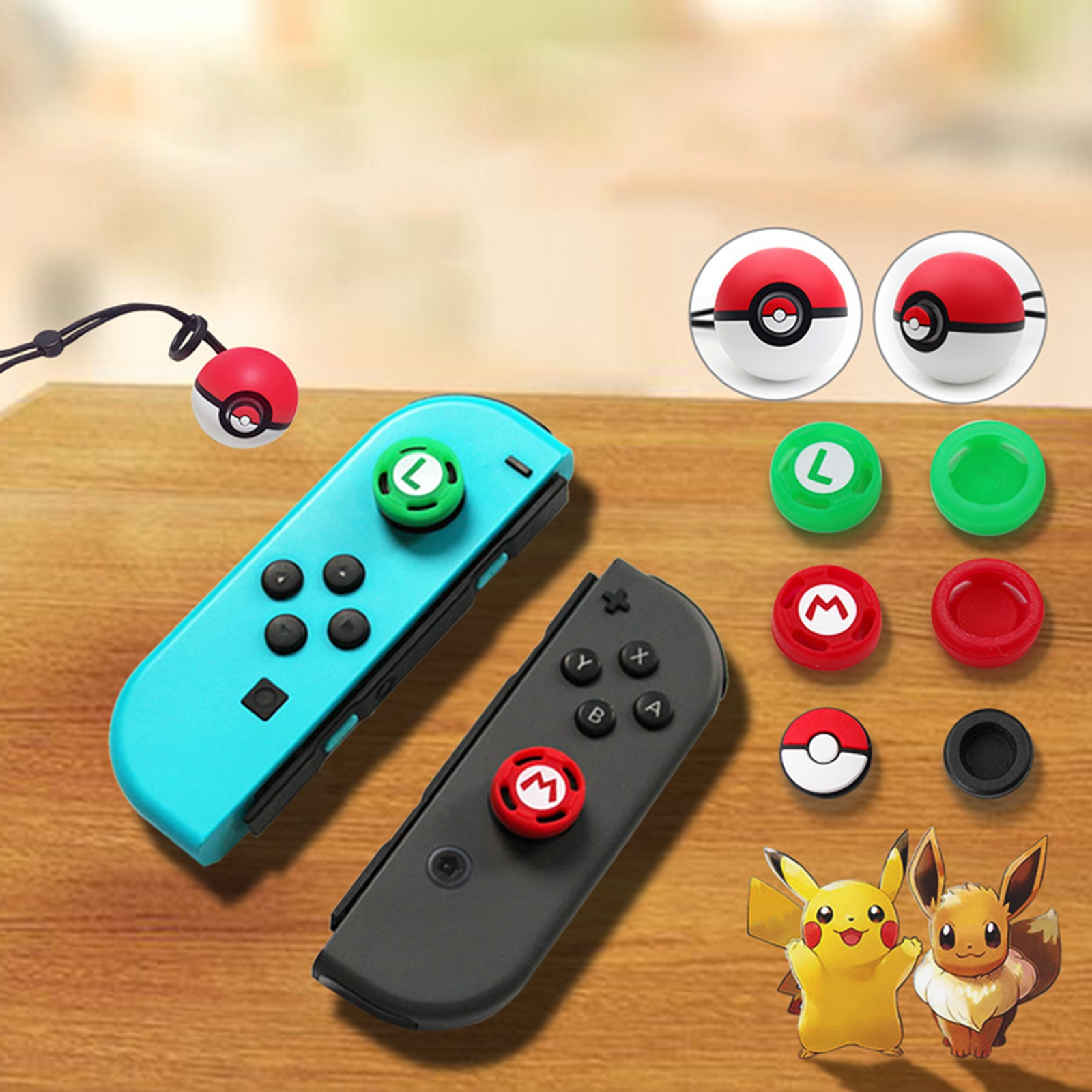 4pcs Thumb Grips Caps For NS Nintend Switch Soft Silicone Poke Ball Button Joy-Con Controller joystick caps Games Accessories