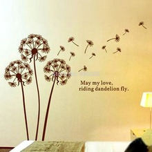 695 Coffee Color Diy Flying Dandelion Pvc Wall Stickers Home Decor Art Decals Wallpaper Bedroom Sofa