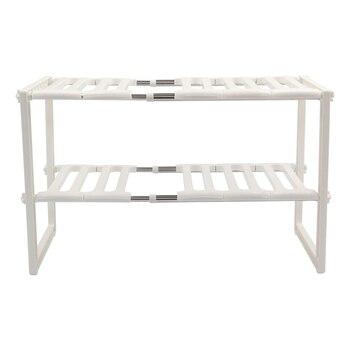 Mejor estante de cocina organizador ajustable removable bajo el fregadero almacenamiento ordenado estante unidad