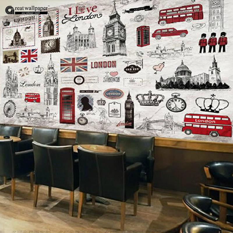 Great wall 3d vintage retro london hand painted european for Classic mural wallpaper