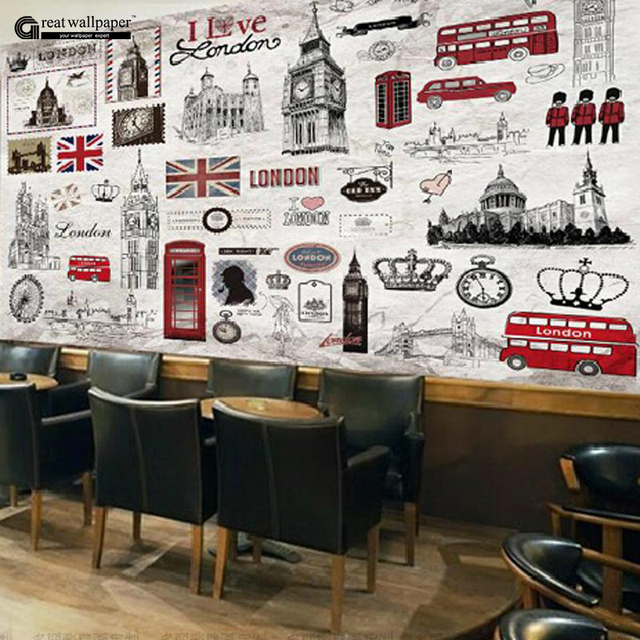 Great Wall 3d Vintage Retro London Hand Painted European Large Wall Murals  Wallpaper Of Television Part 90